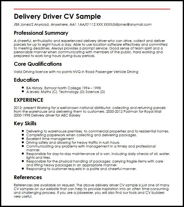 Resume Examples Delivery Driver Pinterest Resume examples