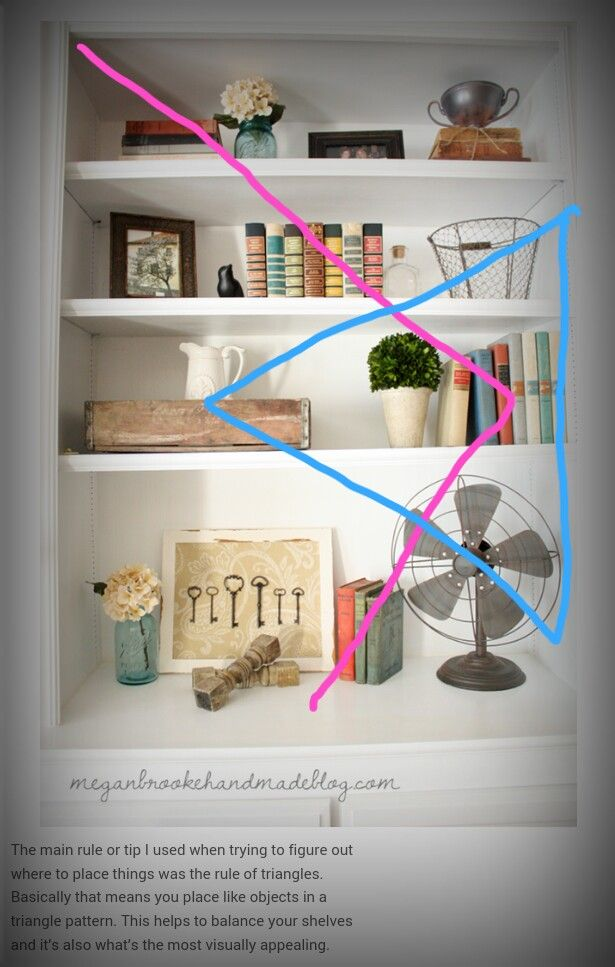 Create triangles while decorating shelves