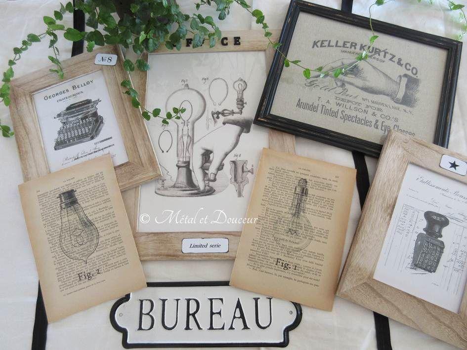 Tableaux, cadres et papiers anciens thème bureau : commande personnalisée : Décorations murales par metal-et-douceur