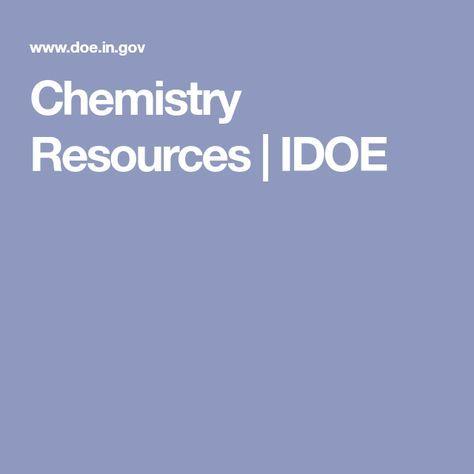 Chemistry Resources IDOE highschool chemistry ideas michal