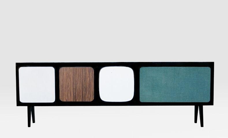 Atelier4cinquieme Atelier 4 5 Architecture Design Recup Meuble Tv Banc Portes Faites Avec Des Assises De Chaise En Formica Meuble Tv Meuble Tv Assise De