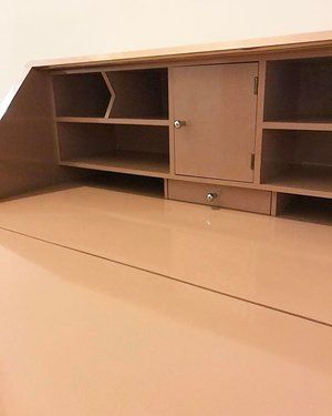 Vintage pink laminate secretary desk! Great used as a vanity also ...