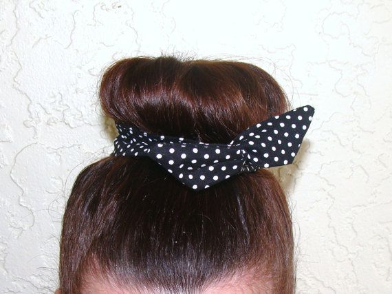 Top Knot Wire Wrap White Polka Dots on Black Mini by Lorettajos, $7.00