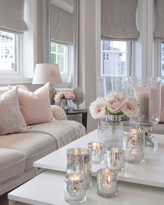 Soft Pink Beige And Silver Decor Pink Living Room Living Room