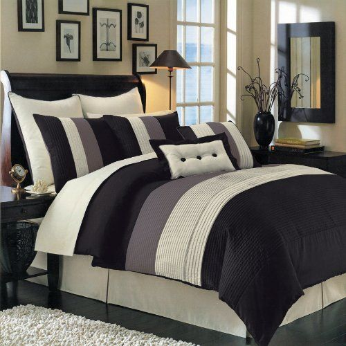 """Queen Size Luxurious 12 PIECE Black Hudson BED IN A BAG Comforter Set. Includes Comforter, Pillow Shams, Decorative Pillows, Flat sheet, Fitted sheet, Pillowcases, Bed skirt by Egyptian Cotton Factory Outlet Store. $139.95. Two Standard Pillow Shams (20"""" x 26"""") each, Two Euro Pillow Shams (26"""" x 26"""") each. One Queen Comforter (90"""" x 92""""), One Queen Bed Skirt (60"""" x 80"""") with 15"""" Drop. The 12 Piece Comforter Set is Black in Color with shades of Sage, Chocolate and Ivory. White F..."""
