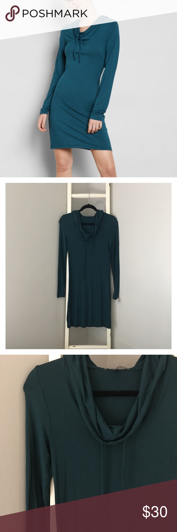 NWOT Teal Hooded Cowl Neck Sweater Bodycon Dress | Hooded cowl ...