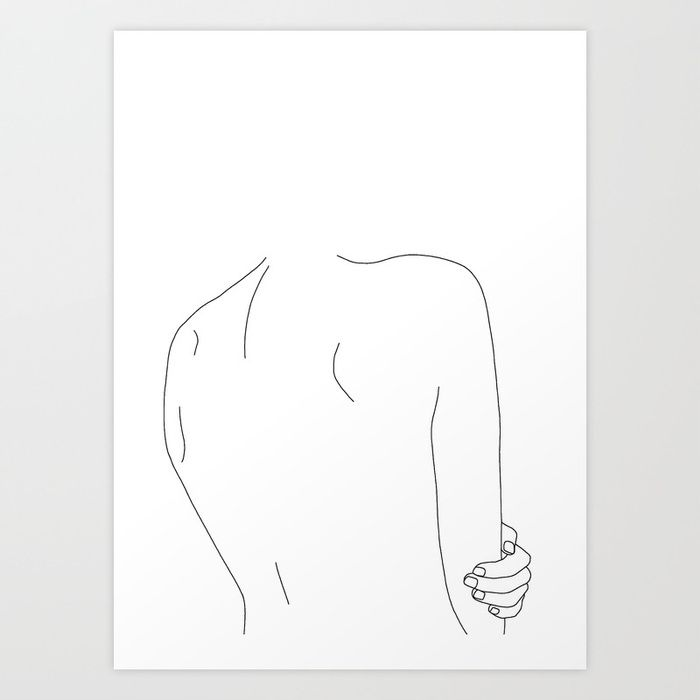 Photo of Woman's body line drawing – Ada Art Print by thecolourstudy