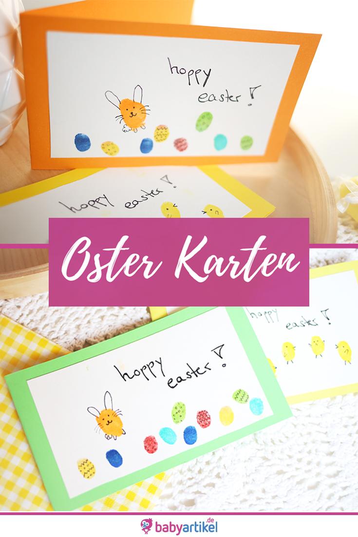 Photo of DIY: Osterkarten mit Baby und Kind basteln. Fingerprint Hasen und Ostereier. Ost…