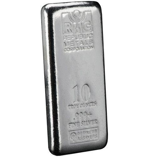 10 Oz Rmc Republic Metals Cast Silver Bar Secondary Market Silver Bars Silver Silver Bullion