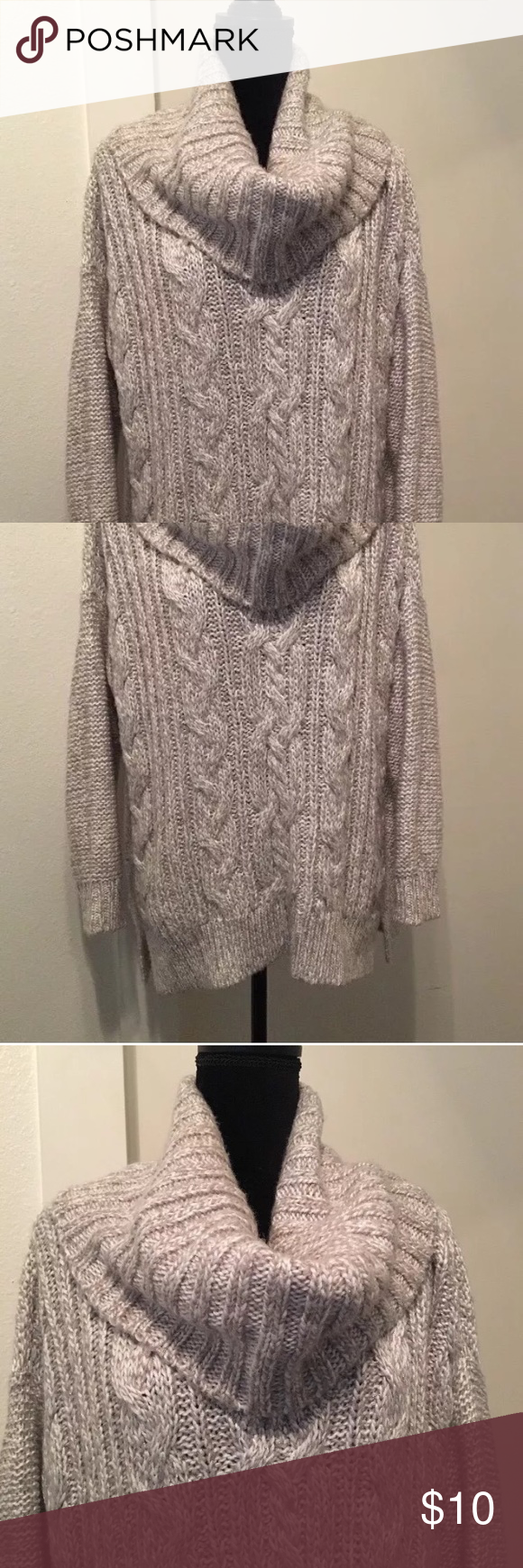 Cowl neck Chunky oversized high low sweater | Cowl neck, High low ...