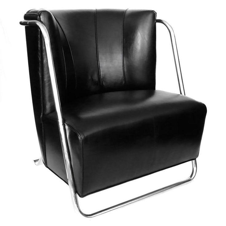 Fabulous Rare Art Deco Chrome Black Leather Chair By Gilbert Rohde Frankydiablos Diy Chair Ideas Frankydiabloscom