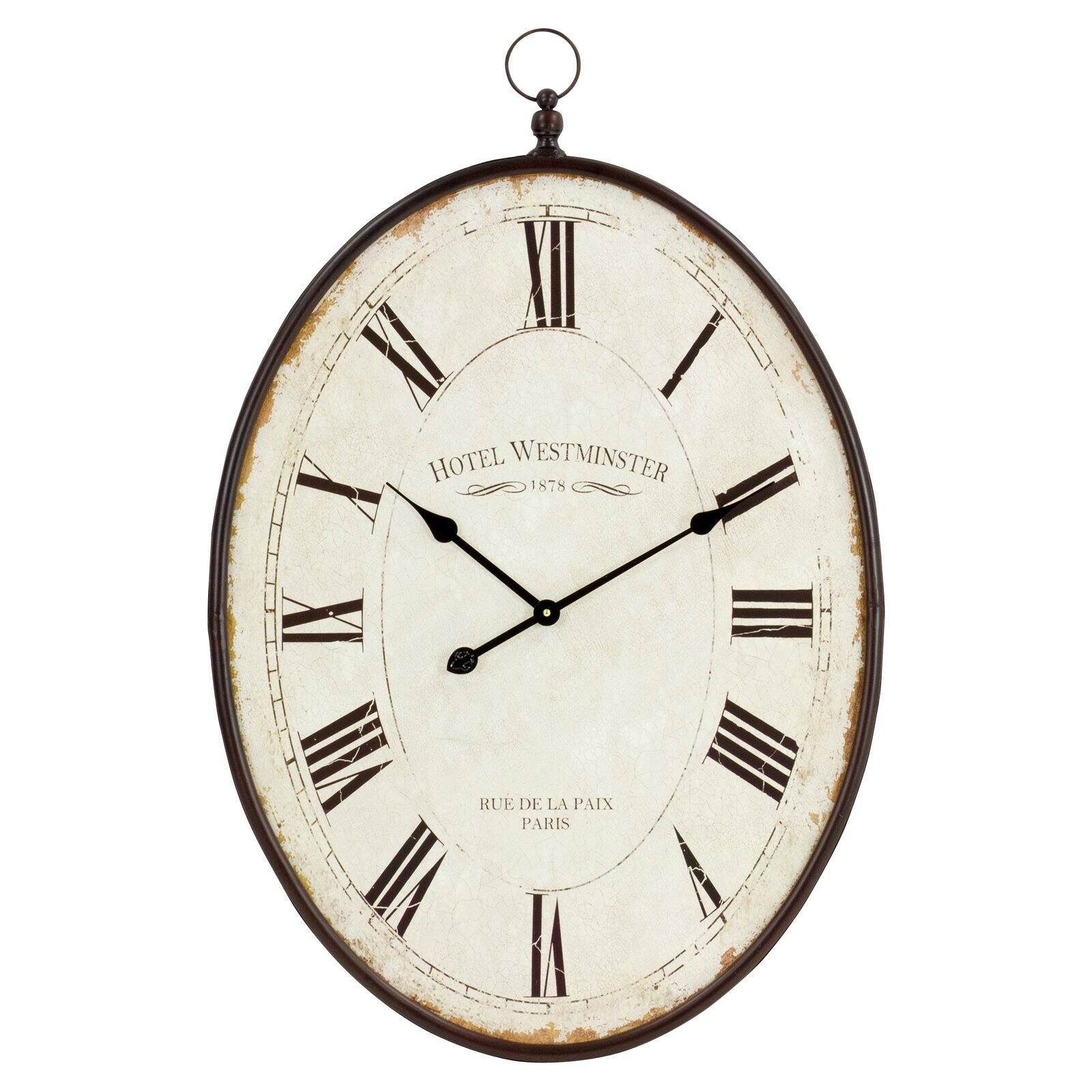 Aspire 5841 36 X 23 5 X 1 5 In Ines Large Oval Wall Clock Brown Walmart Com Large Oval Wall Clock Wall Clock Clock