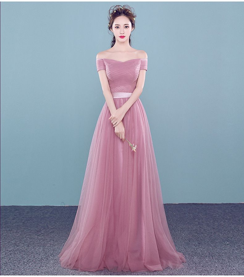 2016 New Dusty Pink Cheap Bridesmaid Dresses Long Off The Shoulder ...