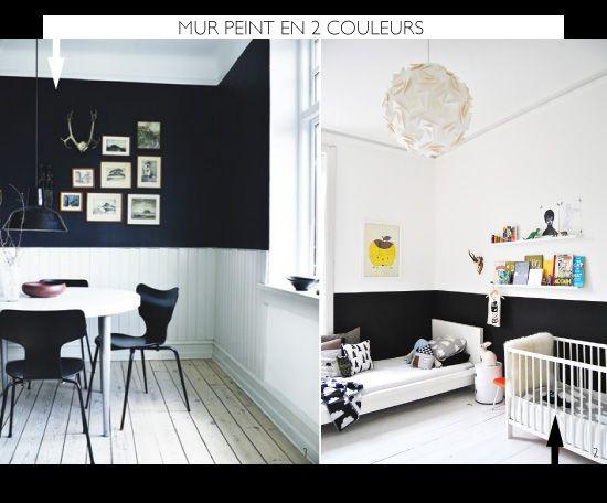 Peindre le mur en 2 couleurs peindre mur peinture 2 - Peindre une chambre mansardee en 2 couleurs ...
