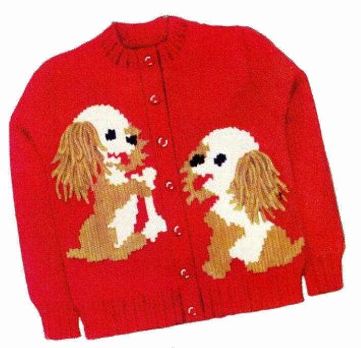 50s Knit O Graf 220 Knitting PATTERN Cocker Spaniel Cardigan Pullover Sweater #KnitOGraf220