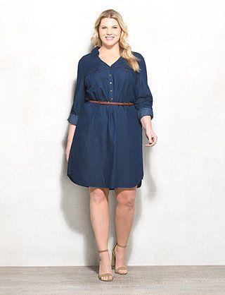 8b5679758b Plus Size Belted Denim Shirt Dress