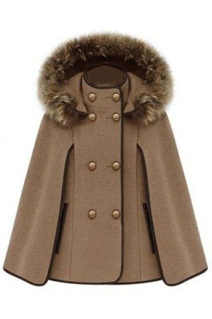 ROMWE | Double Breasted Camel Cape Coat, The Latest Street Fashion on Wanelo