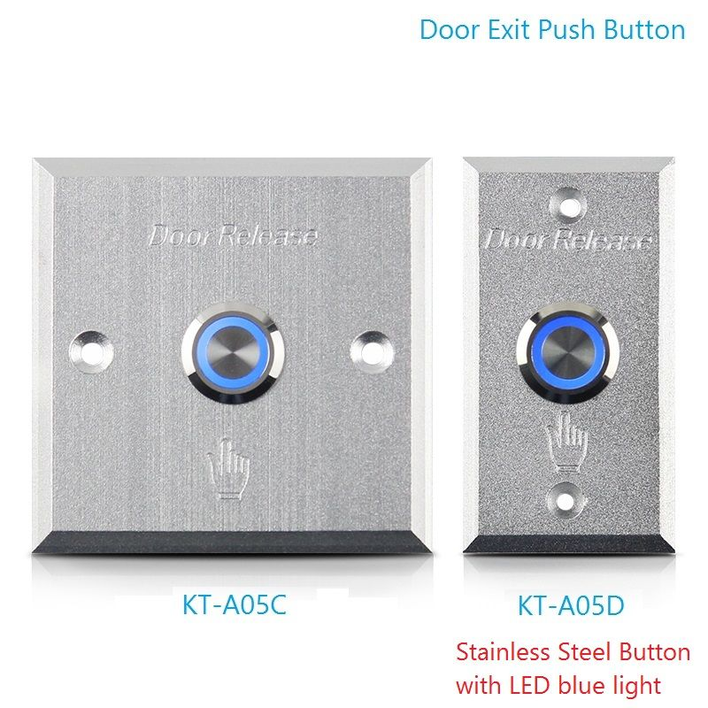 Door Exit Push Button With Led Light Stainless Steel Sealed Contact Button Aluminum Alloy Panel Access Control Release Switch Access Control Steel Seal Led