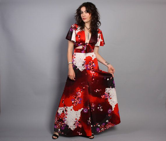 Vintage 70s Wide Leg High waist PALAZZO Pants & Plunging CROP TOP