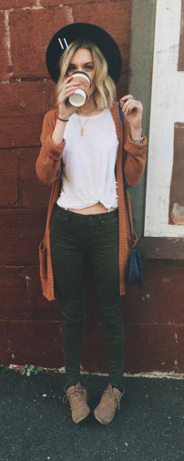 cardigan and green jeans Loved and repinned by Hattie Reegan's www.etsy.com/shop/hattiereegans