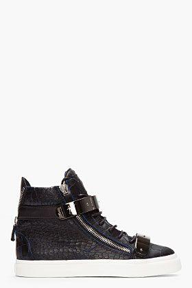GIUSEPPE ZANOTTI BLACK AND NAVY CROC-EMBOSSED LEATHER LONDON HIGH-TOPS - http://africanluxurymag.com/shop-item/giuseppe-zanotti-black-navy-croc-embossed-leather-london-high-tops/
