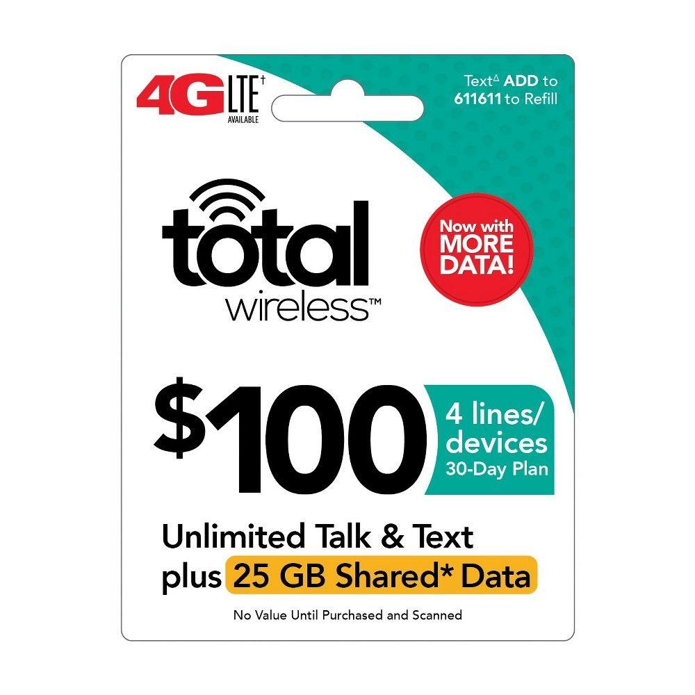 Total wireless unlimited talk text plus 25gb shared data