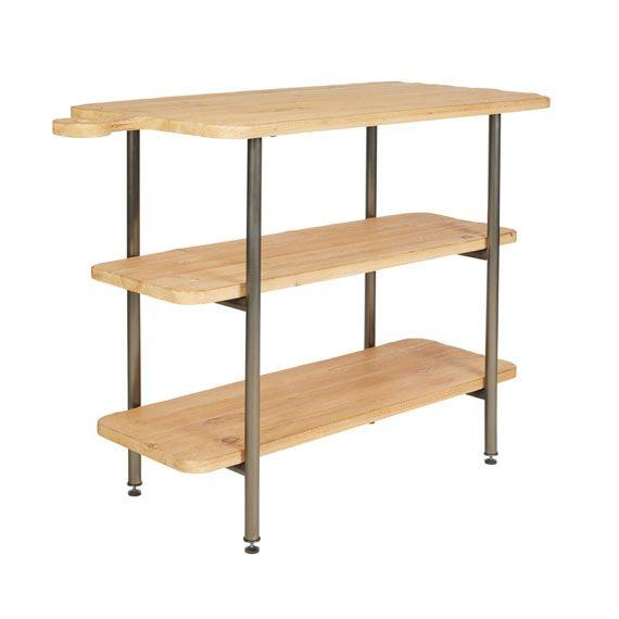 Beresford Workbench Wood Shelves Workbench Stainless Steel Frame