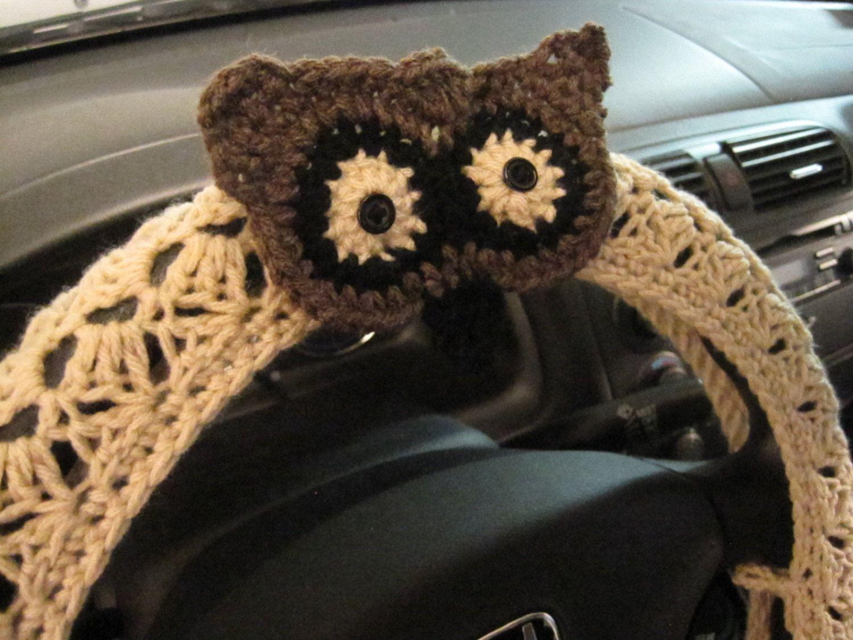 Crochet owl steering wheel cover wheel cozy with owl