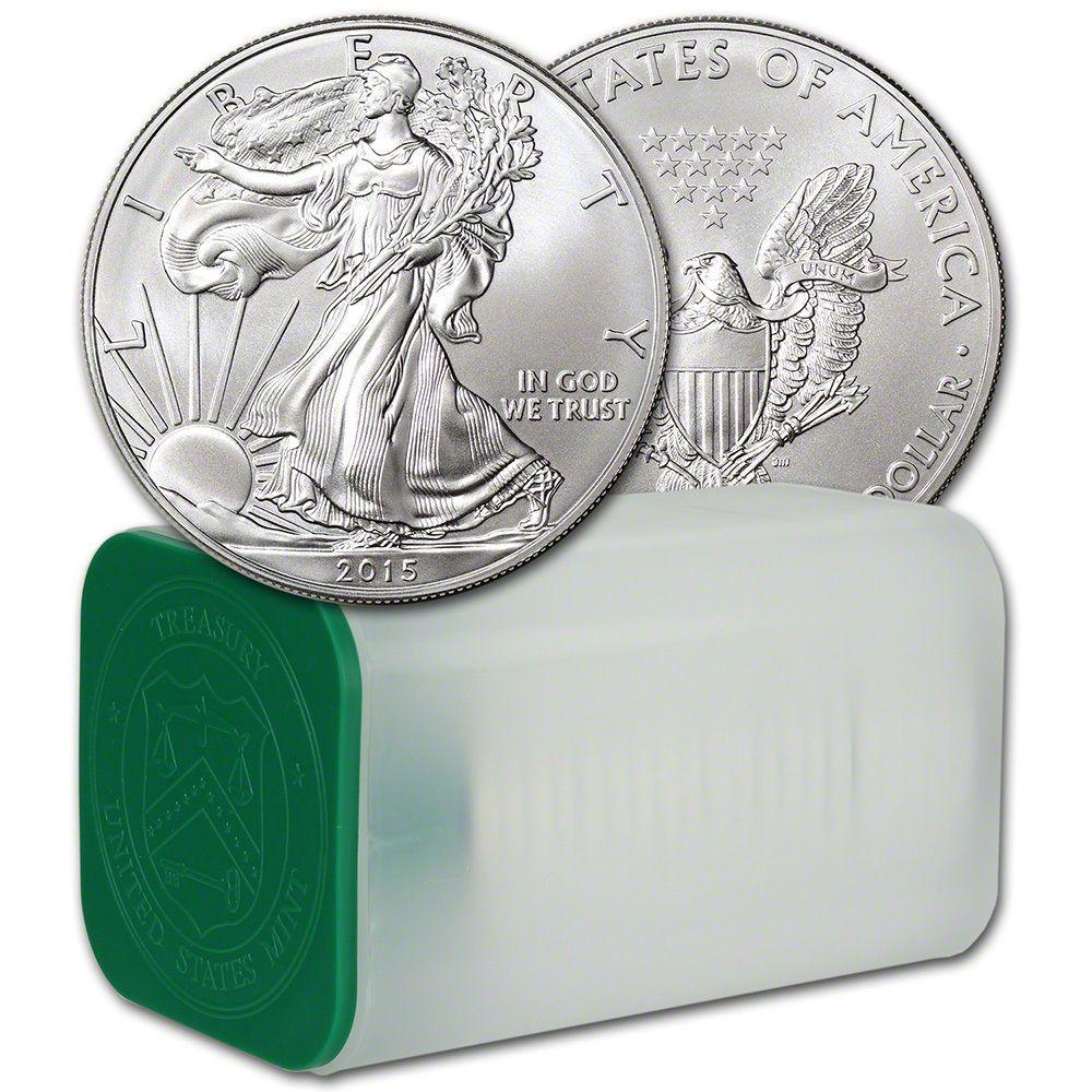 2015 American Silver Eagle 1 Oz 1 1 Roll Twenty 20 Bu Coins In Mint Tube Silver Eagles American Silver Eagle Silver Bullion Coins