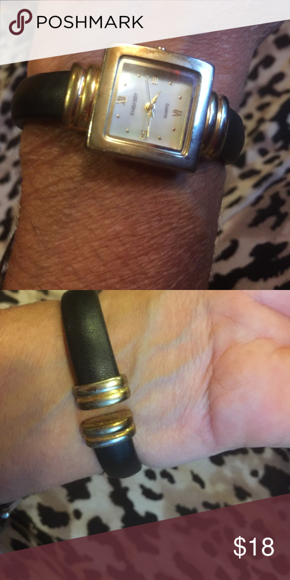 Embassy vintage bangle Black watch It works! Battery required. It's in there. It has a second hand. Circa 90s Jewelry