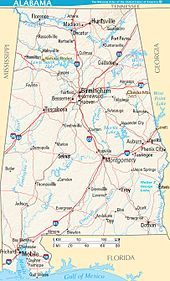 Map of major cities, roads, lakes, and rivers in Alabama. in ...
