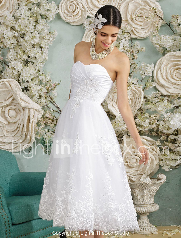 A-Linie Sweetheart Tee-Länge Tüll Hochzeitskleid mit Perlenstickerei ...