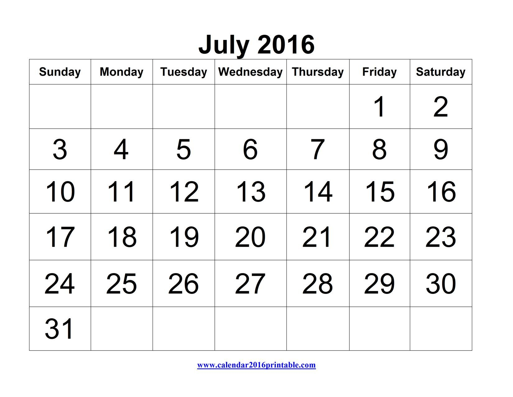 July 2016 Calendar Printable Excel Free To Download And Print