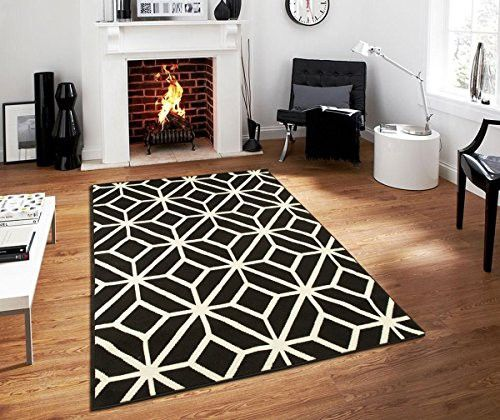 Contemporary Rugs For Living Room Modern 5x7 Black And White Moroccan Trellis Area Rug Carpet