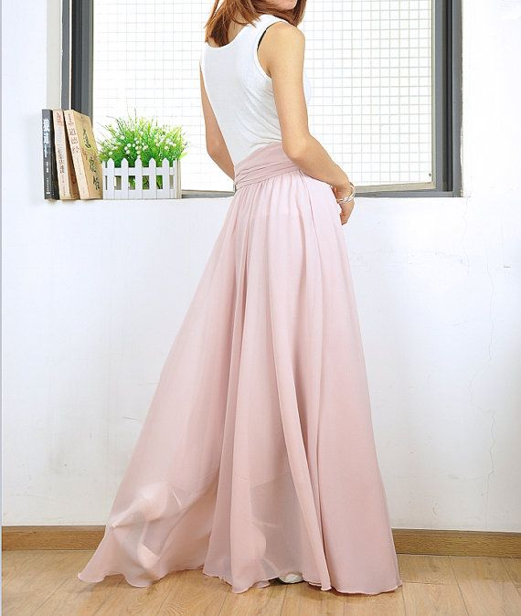 9e49cb636 High Waist Maxi Skirt Chiffon Silk Skirts Beautiful Bow Tie Elastic Waist  Summer Skirt Floor Length