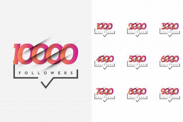 Set 1000 to 10000 followers template des... | Premium Vector #Freepik #vector #template
