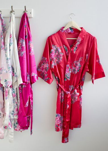147c459761 Pamper the bride-to-be and her beautiful bridesmaids with pretty personalized  satin robes! These decadent robes are silky soft