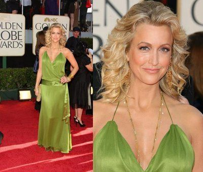 Lara Spencer. Did she get this dress at the back of a sale rack at Forever 21? First off, I hate this color especially when it's not done right. This is all bad, right down to the hair. One of the worst of the night, if not the worst.