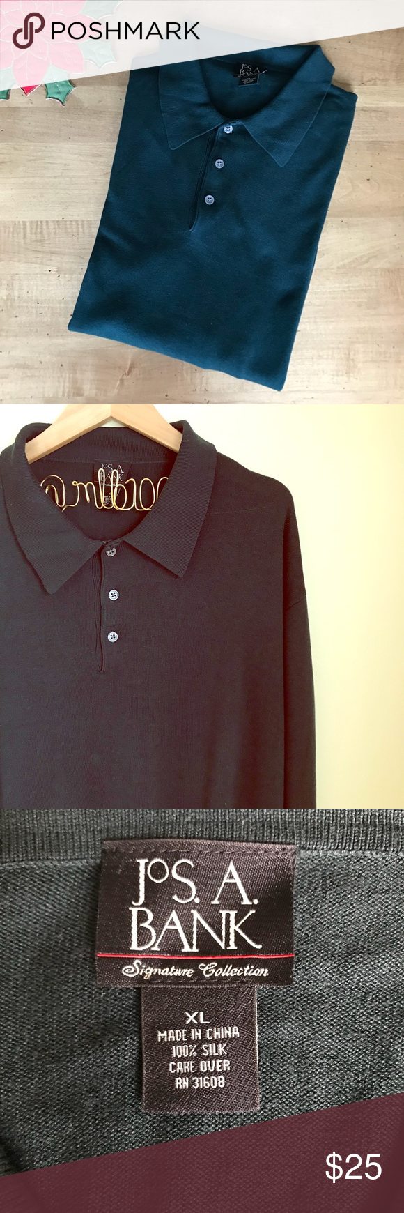 Dark green dress shirt  Jos A Bank Menus long sleeve silk polo shirt  Long sleeve polo
