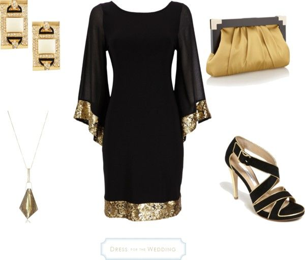 Black and Gold Art Deco Look for an Evening Wedding