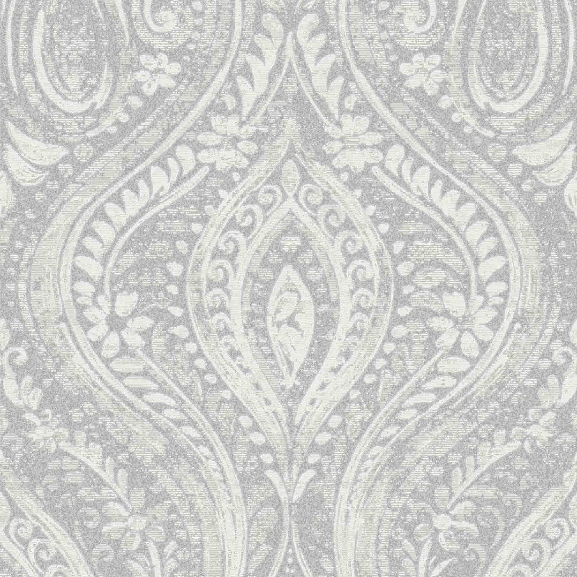Gold Anoushka Grey Damask Sheen Wallpaper Departments