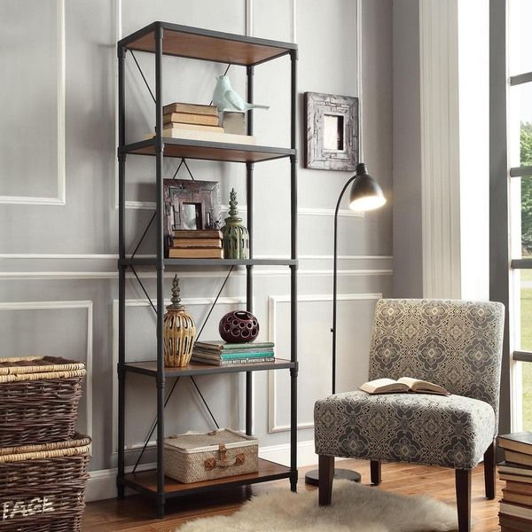 Inspire Q Harrison Rustic Pipe Frame Shelf Media Tower Ping Great Deals