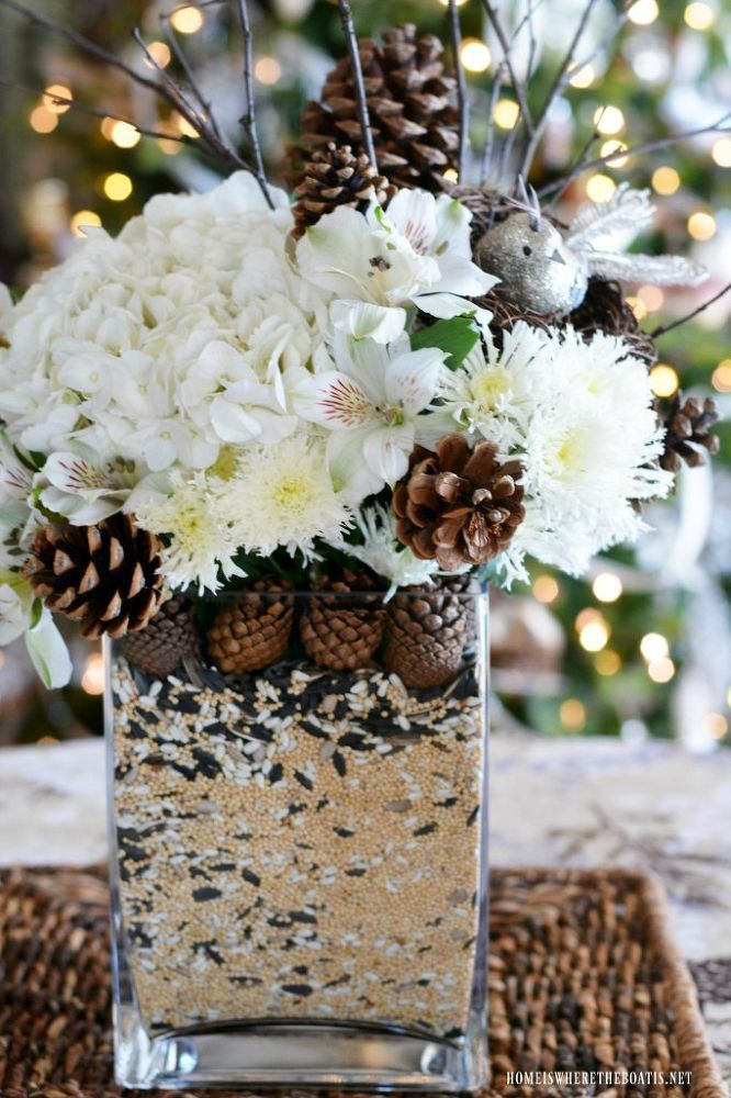 How to Make a Winter Nesting Floral Arrangement and Centerpiece DIY -   25 nature crafts flowers