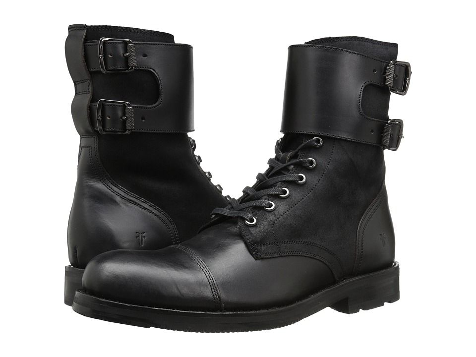 c1d2924132a Frye Officer Cuff Boot Men's Lace-up Boots Black Smooth Pull Up ...
