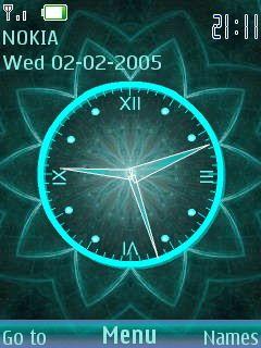 3D Digital Flower Clock S40 Theme Mobile Theme | Coolest