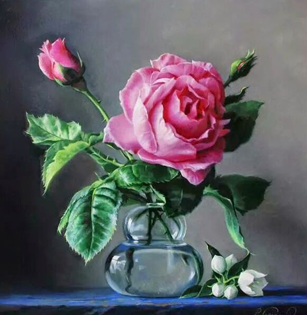 Hyper Realistic Flower Masterpieces By Pieter Wagemans Buzz Inn Oil Painting Flowers Rose Painting Realistic Flower Drawing