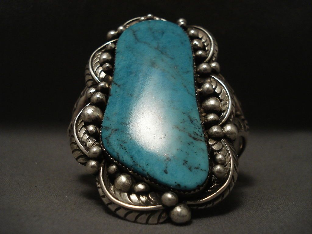 One of the largest old navajo blue diamond turquoise silver bracelet