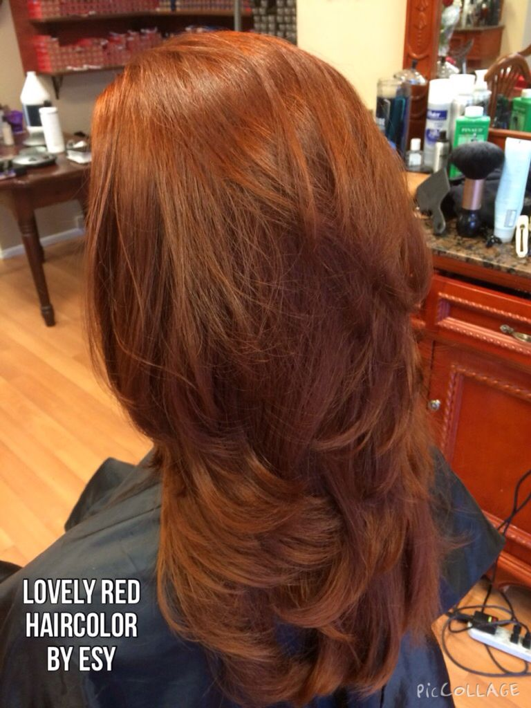 Beautiful Red Haircolor Cut And Style By Esy Redhead Redhair