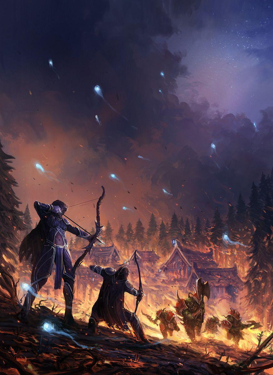 Artstation World Of Warcraft Teldrassil Invasion I Jorge Jacinto Warcraft Art World Of Warcraft Wallpaper Night Elf