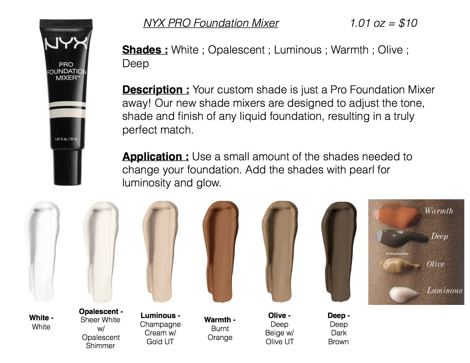 nyx pro foundation mixer makeup swatches pinterest. Black Bedroom Furniture Sets. Home Design Ideas